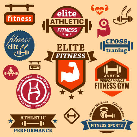 barbell: Elegant Fitness and Sport Labels.