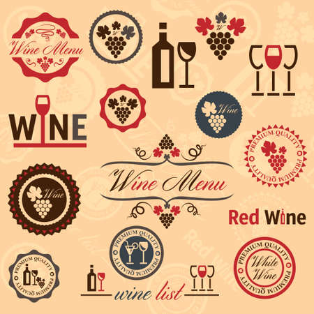 Elegant Wine Labels Collection. Vector