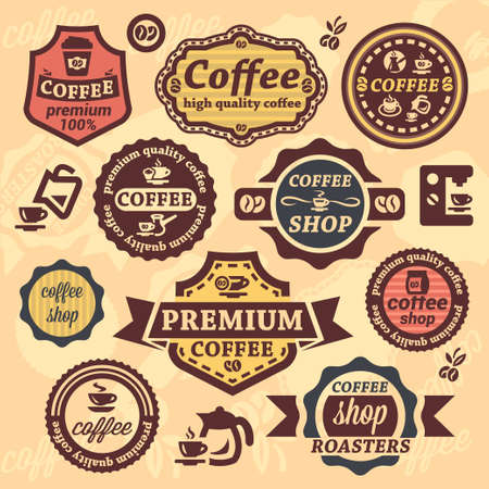 Elegant Coffee Labels And Badges Set. Vector