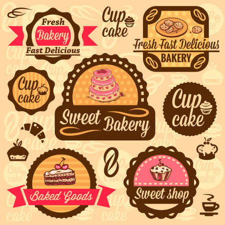 baked goods: Elegant Bakery Labels And Badges Set