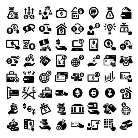 Big Elegant Business And Financial Icons Set. Vector
