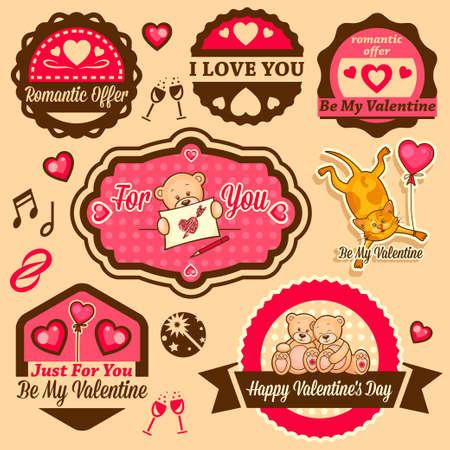 Valentine`s Day Set - labels, emblems and other design elements. Vector