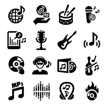 elegant vector: Vector Elegante Musica Icon Set per il web e mobile