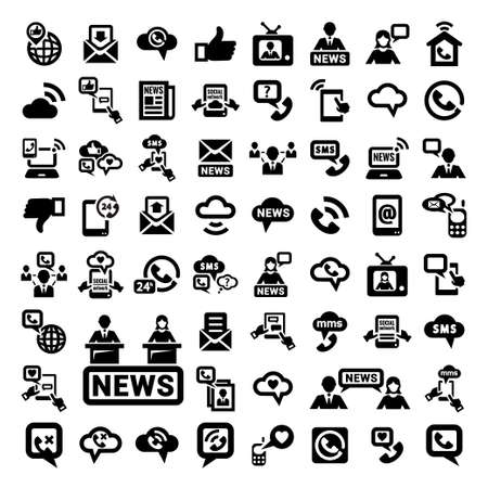 64 Elegante Communication Icons für Web und mobile Set Illustration