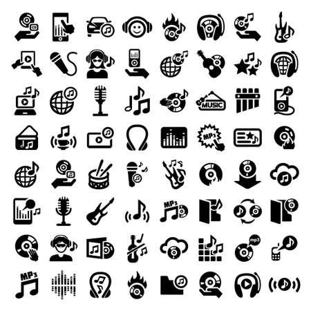 64 Elegant Vector Music Icon Set for web and mobile