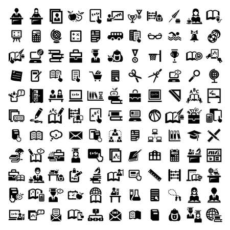 121 Elegant Vector Education And School Icons Set