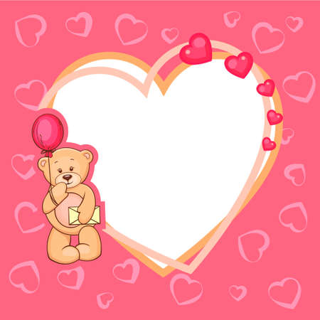 Illustration of Cute Valentine Teddy Bear with sign. Vector