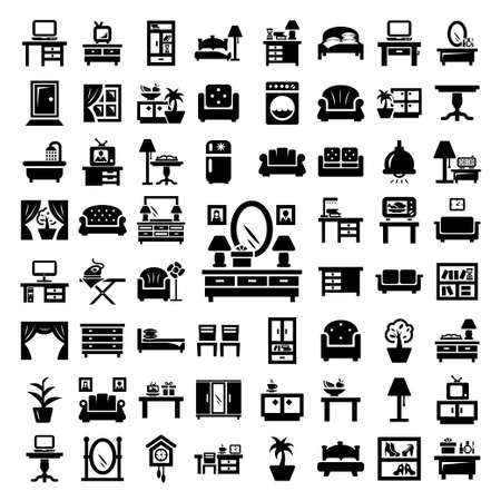 64 Elegant Vector Furniture Icons Set. Stock Illustratie
