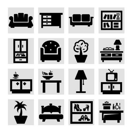 elegant vector: Set Vector eleganti mobili Icone.