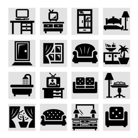 Elegant Vector Furniture Icons Set. Vector