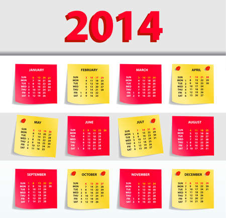 chronological: Vector Calendar 2014, All Elements Are In Separate Layers And Grouped, Easy To Edit.