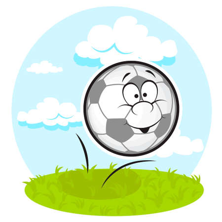 Funny Soccer Ball on the green field. Vector Illustration. Stock Vector - 22606163