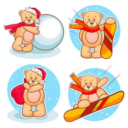 Colorfull Illustration Of Cute Teddy Bear Snowboarding. Vector
