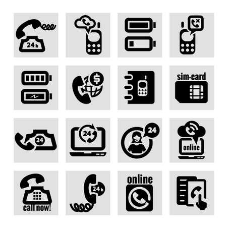 elegant vector: Elegant Vector Black Phone Icons Set.