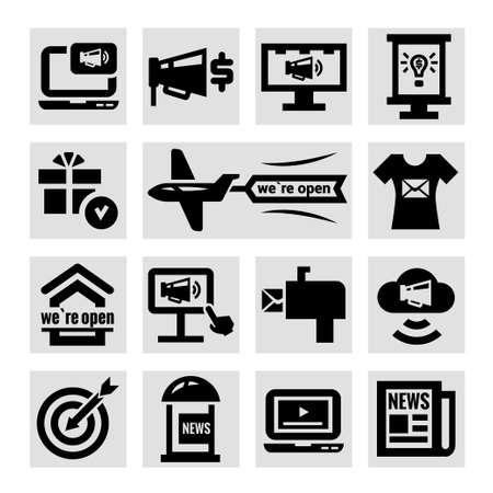 persuasion: Elegant Marketing and Advertisement  Icons Set  Illustration