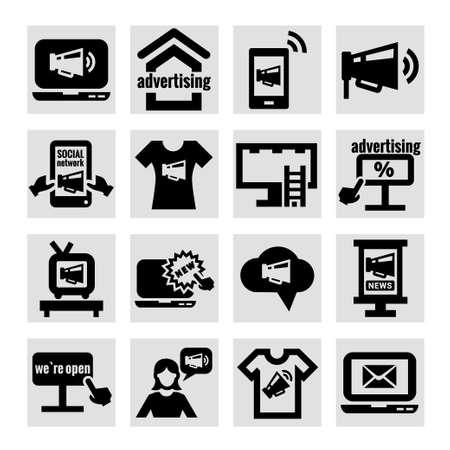 Elegante Marketing e Pubblicità Icons Set