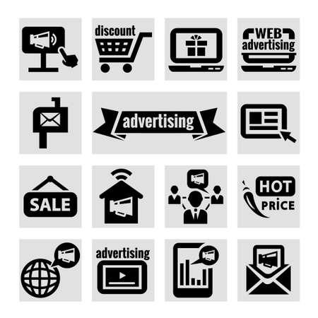 tradeswomen: Elegant Marketing and Advertisement  Icons Set  Illustration