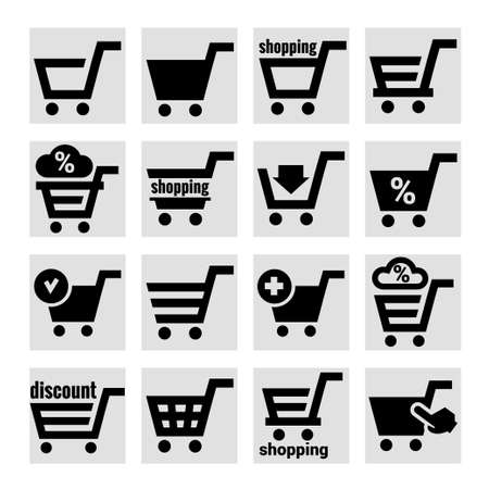 Shopping Cart Icons Stock Vector - 23019437