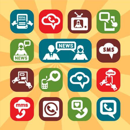 Color Communication Icons Set for web and mobile  Vector
