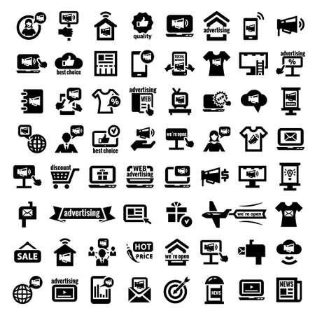 direct marketing: Elegant Marketing and Advertisement  Icons Set  Illustration