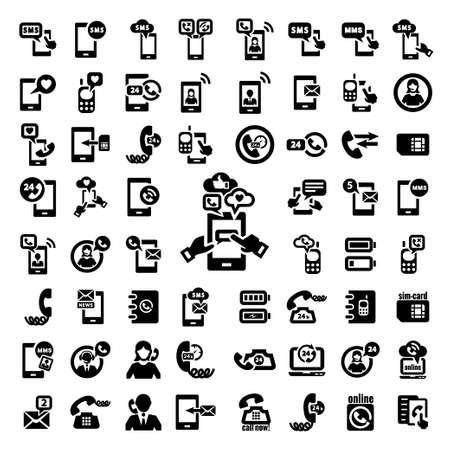 Elegant Vector Black Phone Icons Set  Illustration