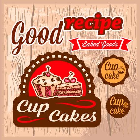 cup cakes: Elegante Vector Cup Cakes etiquetas Todos los elementos se agrupan