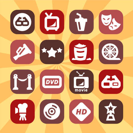 Color Movie Icons Set Created For Mobile, Web And Applications  Vector