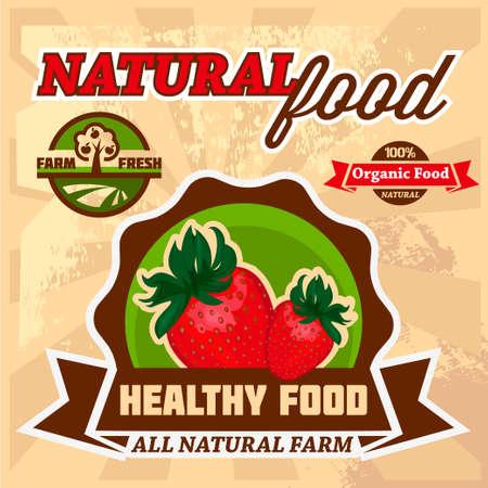 old fashioned vegetables: Vector Natural Food Poster Design  Illustration