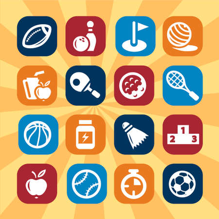 Sport and Fitness vector icons for web and mobile  All elements are grouped  Vector