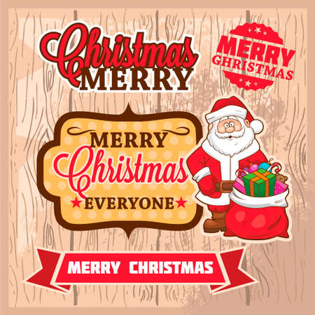 Colorful Vintage Christmas Vector Labels  矢量图像