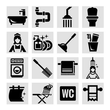 Elegant Vector Black Bathroom Icons Set. Vector