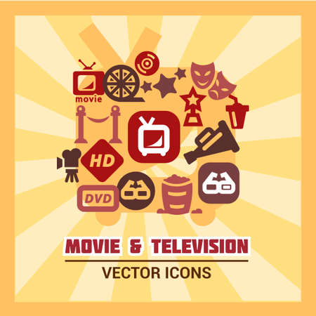 Colorful Movie Icons Set  Vector Illustration  Vector