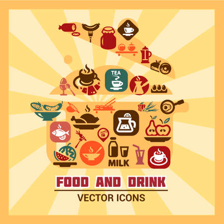 Elegant Colorful Vector Food Icons Set. Stock Vector - 23286214