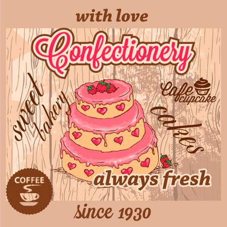 Cafe Confectionery Dessert Menu in Retro Style  Stock Vector - 23654097