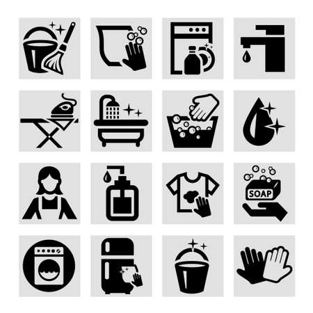 the maid: Elegant Vector Black Cleaning Icons Set.