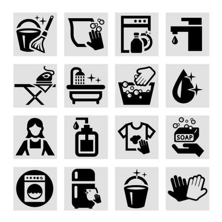 sirvienta: Elegante Vector Black Icons Set de limpieza.