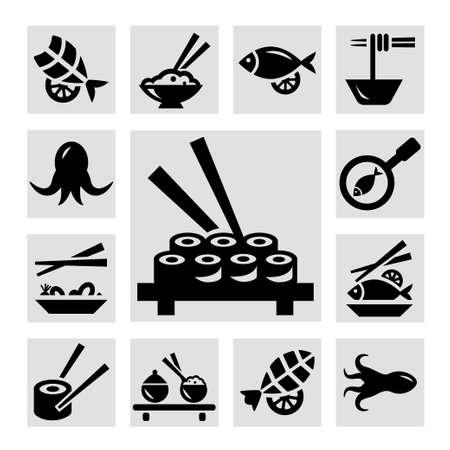 shrimp cocktail: Seafood icon set Illustration