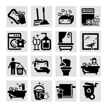 Elegantes Schwarz Vector Icons Set Reinigung Illustration