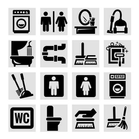 vacuum cleaner worker: Elegant Vector Black Cleaning Icons Set