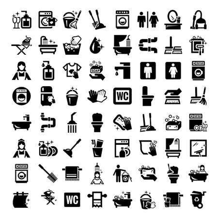cleaning up: Big Elegant Vector Black Cleaning Icons Set  Illustration