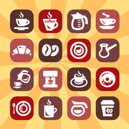 Elegant Coffee Icons Set Created For Mobile, Web And Applications  Vector