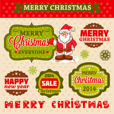 Christmas Labels and Illustrations Design Elements Collection  Vector