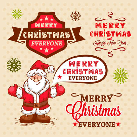 Christmas Labels and Illustrations Design Elements Collection. Vector
