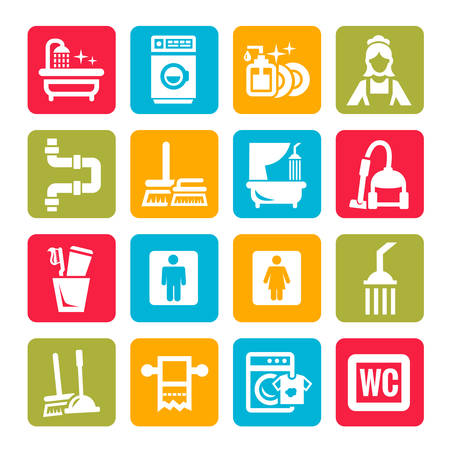 vacuum cleaner worker: Colorful Elegant Vector Black Cleaning Icons Set.