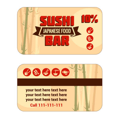 Vintage Sushi Bar Discount Card. Vector illustration. Vector