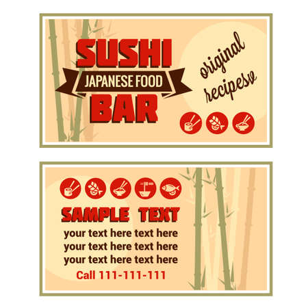 Vintage Sushi Bar Visiting Card. Vector illustration. Vector