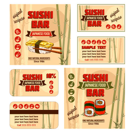 Vintage Sushi Bar Corporate Identity. Vector illustration. Vector