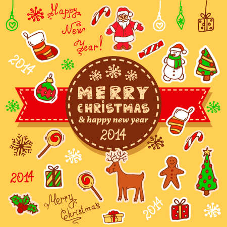 Vector Christmas Decoration Collection for Holiday Design. Vector