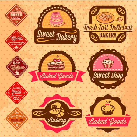 Elegant Vector Bakery Labels And Badges Set  All elements are grouped