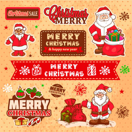 Vector Vintage Christmas Card for Holiday Design. Stock Vector - 24026541